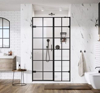 Liberty Black Grid Hinged Door alcove